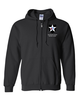 2nd Infantry Division Embroidered Hooded Sweatshirt with Zipper