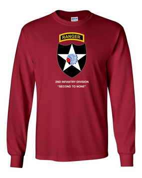 2nd Infantry Division w/ Ranger Tab Long-Sleeve Cotton Shirt -(Full Front)