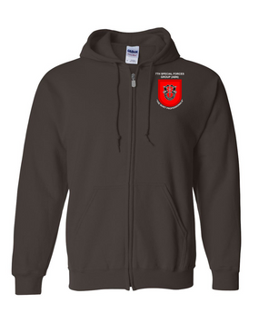 7th Special Forces Group  Embroidered Hooded Sweatshirt with Zipper