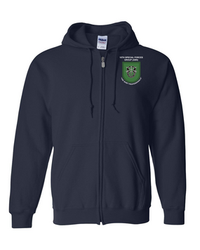 10th Special Forces Group  Embroidered Hooded Sweatshirt with Zipper