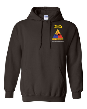 1st Armored Division w/ Ranger Tab Embroidered Hooded Sweatshirt