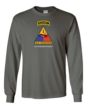 1st Armored Division w/ Ranger Tab Long-Sleeve Cotton Shirt-(Chest)