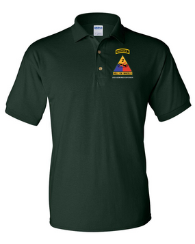2nd Armored Division w/ Ranger Tab Embroidered Cotton Polo Shirt