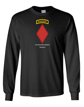 5th Infantry Division w/ Ranger Tab Long-Sleeve Cotton Shirt-(Chest)