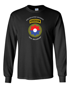 9th Infantry Division w/ Ranger Tab Long-Sleeve Cotton Shirt-(Chest)