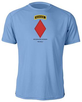 5th Infantry Division w/ Ranger Tab Moisture Wick Shirt -(Chest)