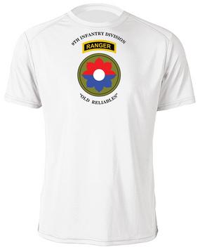 9th Infantry Division w/ Ranger Tab Moisture Wick Shirt -(Chest)