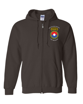 9th Infantry Division w/ Ranger Tab  Embroidered Hooded Sweatshirt with Zipper