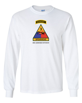 3rd Armored Division w/ Ranger Tab Long-Sleeve Cotton Shirt-(Full Front)