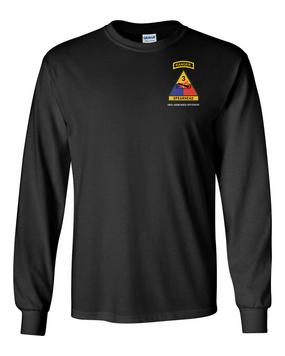 3rd Armored Division w/ Ranger Tab Long-Sleeve Cotton Shirt-(Pocket)