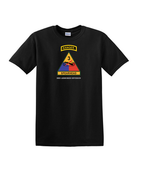 3rd Armored Division w/ Ranger Tab Cotton T-Shirt -(Full Front)