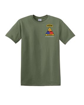 3rd Armored Division w/ Ranger Tab Cotton T-Shirt -(Pocket)