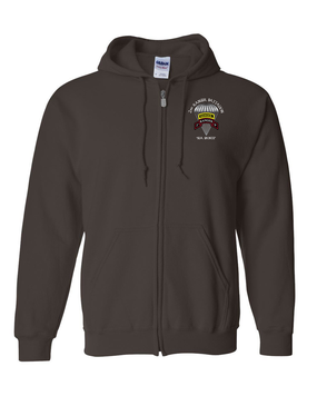 2-75th Ranger Battalion w/ Ranger Tab Embroidered Hooded Sweatshirt with Zipper (C)