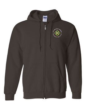 4th Infantry Division Embroidered Hooded Sweatshirt with Zipper (C)
