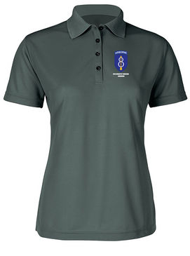 Ladies 8th Infantry Division Airborne Embroidered Moisture Wick Polo Shirt