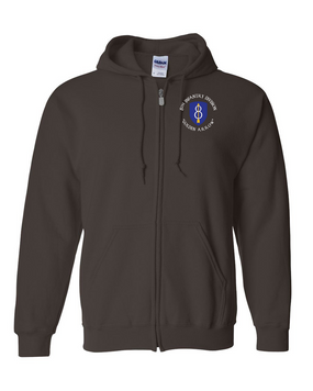 8th Infantry Division Embroidered Hooded Sweatshirt with Zipper (C)