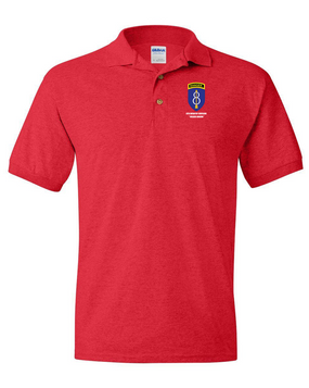 8th Infantry Division w/ Ranger Tab Embroidered Cotton Polo Shirt