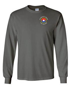 9th Infantry Division w/ Ranger Tab Long-Sleeve Cotton Shirt  -Pocket (C)