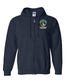 7th Cavalry Regiment Embroidered Hooded Sweatshirt with Zipper