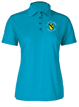 Ladies 1st Cavalry Division Embroidered Moisture Wick Polo Shirt  (C)