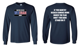 US Army Veteran Long-Sleeve Cotton Shirt  -Flag- (FF)