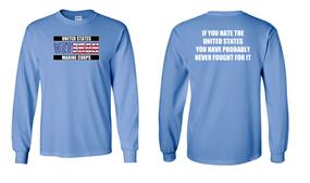 US Marine Corps Veteran Long-Sleeve Cotton Shirt  -Fought- (FF)