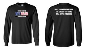 US Marine Corps Veteran Long-Sleeve Cotton Shirt  -Lion- (FF)