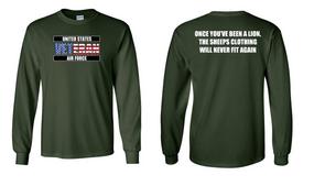 US Air Force Veteran Long-Sleeve Cotton Shirt  -Lion- (FF)