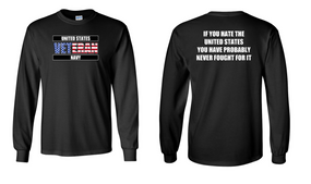 US Navy Veteran Long-Sleeve Cotton Shirt  -Fought- (FF)