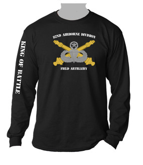 82nd Airborne Division Field Artillery Long-Sleeve Black Moisture Wick Shirt