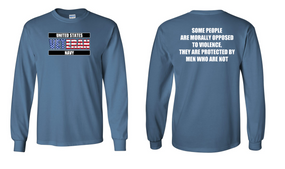 US Navy Veteran Long-Sleeve Cotton Shirt  -Morally- (FF)