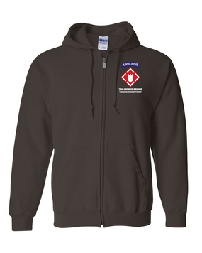 20th Engineer Brigade (Airborne) Embroidered Hooded Sweatshirt with Zipper