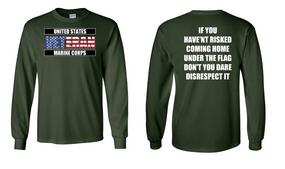 US Marine Corps Veteran Long-Sleeve Cotton Shirt  -Flag Disrespect- (FF)
