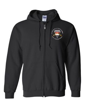 1/17th Cavalry Guidon Embroidered Hooded Sweatshirt with Zipper-M