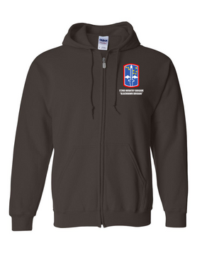 "172nd Infantry Brigade ""Blackhawk""  Embroidered Hooded Sweatshirt with Zipper"
