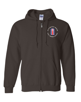 197th Infantry Brigade (C) Embroidered Hooded Sweatshirt with Zipper