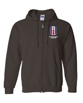 """197th Infantry Brigade """"Sledgehammer""""  Embroidered Hooded Sweatshirt with Zipper"""