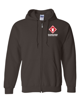 20th Engineer Brigade Embroidered Hooded Sweatshirt with Zipper