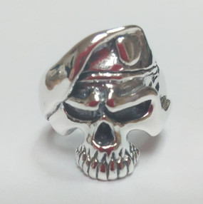 US Army Paratrooper Half Skull  Sterling Silver Ring