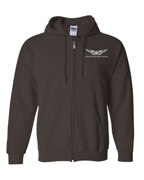 US Army Aviator Embroidered Hooded Sweatshirt with Zipper