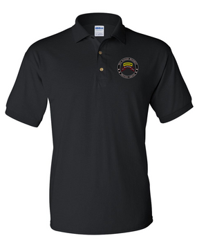"""75th Ranger Regiment-Tab- """"Proudly Served"""" Embroidered Cotton Polo Shirt"""