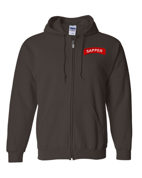 Sapper Embroidered Hooded Sweatshirt with Zipper