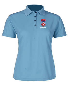 """20th Engineer (Airborne) """"Sapper"""" Ladies Embroidered Moisture Wick Polo Shirt"""