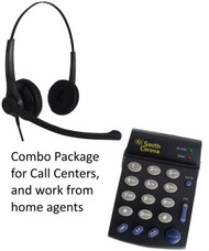 Voicelync Binaural headset with PD100 single line dial pad for work at home agents or call centers.
