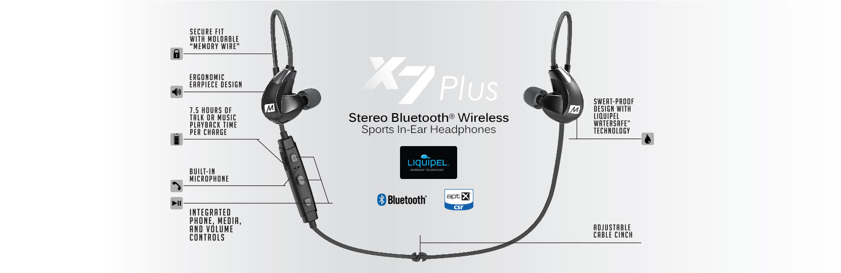 d0cff0de2cc Engineered for active lifestyles, the X7 Plus combines high-definition wireless  sound with secure, locked-in fit, sweat-resistant design, and built-in ...