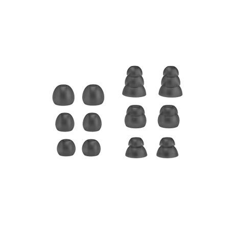 Eartip Combo Set for Pinnacle P1 and P2 (6 pair in various sizes, gray, TS6-CMB-P1-GY)