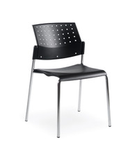 Global SONIC-Armless Stacking Chair BLACK/BLACK 6508CH-BK/BK