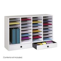 Safco Wood Adjustable Literature Organizer, 32 Compartment w. Drawer