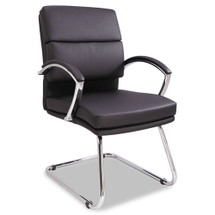 Alera Neratoli Series Slim Profile Guest Chair, Black Soft Leather, Chrome Frame