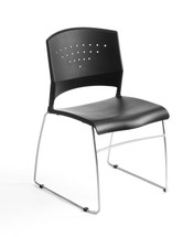 Boss Box of 2 Stack Chairs With Chrome Frame - SHIPS 2/BOX B1400-BK-2